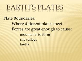 Earth's Plates