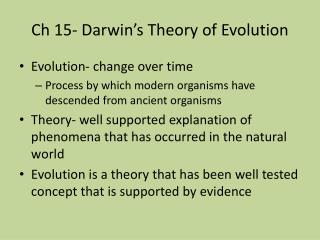 Ch 15- Darwin's Theory of Evolution