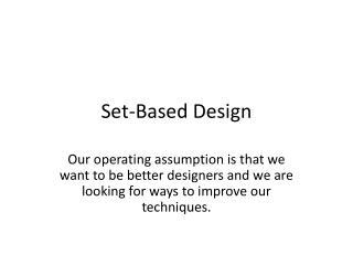 Set-Based Design