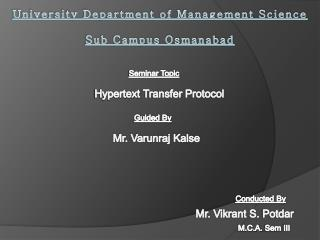 University Department of Management Science Sub Campus Osmanabad