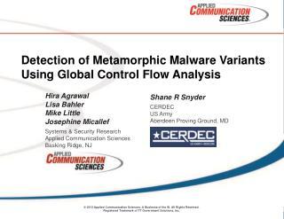 Detection of Metamorphic Malware Variants Using Global Control Flow Analysis