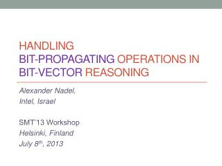 Handling  Bit-Propagating  Operations  in Bit-Vector  Reasoning