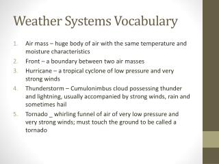 Weather Systems Vocabulary