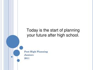 Today is the start of planning your future after high school.