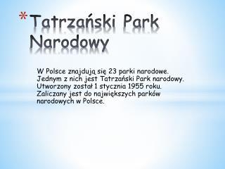 Tatrzański  P ark Narodowy