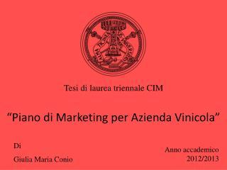 """""""Piano di Marketing per Azienda Vinicola"""""""
