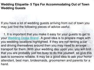 Wedding Etiquette- 5 Tips For Accommodating Out of Town Wedd