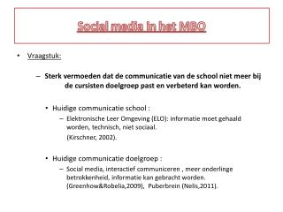 Social  m edia in  het MBO