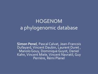 HOGENOM  a  phylogenomic database