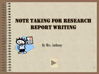 Note Taking For Research  Report Writing