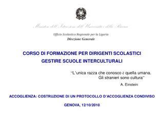 CORSO DI FORMAZIONE PER DIRIGENTI SCOLASTICI GESTIRE SCUOLE INTERCULTURALI