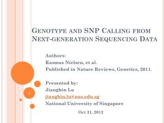 Genotype and SNP Calling from Next-generation Sequencing Data