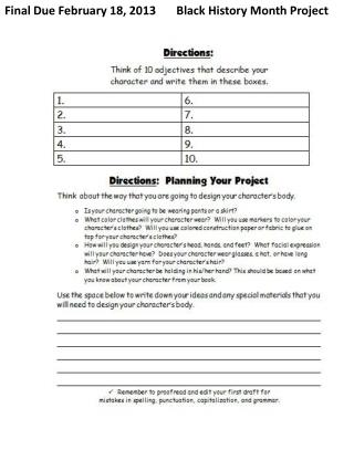 Final Due February 18, 2013       Black History Month Project