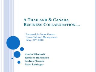 A Thailand & Canada Business Collaboration....