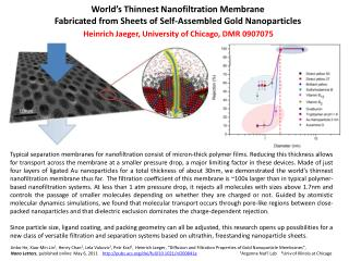 World's Thinnest  Nanofiltration Membrane