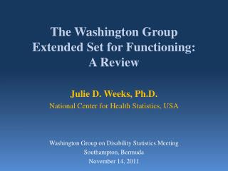 The Washington Group Extended Set for Functioning: A Review
