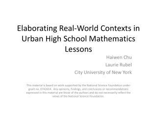 Elaborating Real-World  Contexts in Urban High School Mathematics Lessons