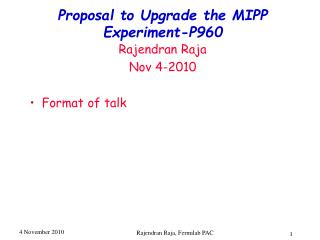 Proposal to Upgrade the MIPP Experiment-P960
