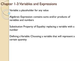 Chapter 1-3: Variables and Expressions