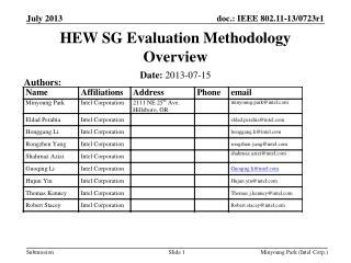 HEW SG Evaluation Methodology Overview