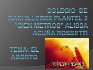 "COLEGIO  DE BACHILLERES PLANTEL 2 ""CIEN METROS"" ALISSA ACUÑA ROSSETTI"