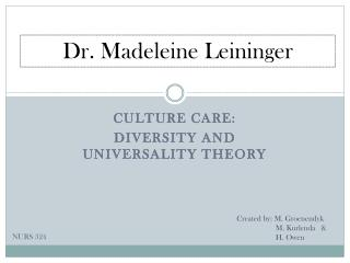 Culture Care: Diversity and universality theory