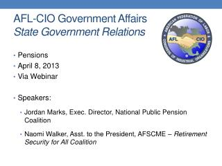 AFL-CIO Government Affairs State Government Relations