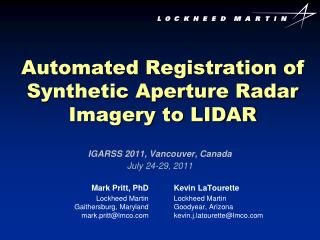 Automated Registration of Synthetic Aperture Radar Imagery to LIDAR