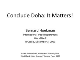 Conclude Doha: It Matters!