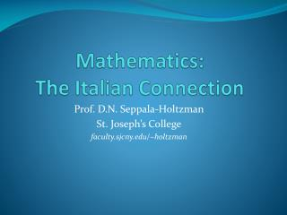 Mathematics:  The Italian Connection