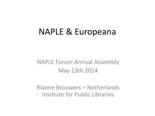 NAPLE & Europeana
