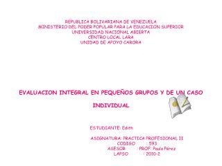 Cronograma de actividades de un pequeño grupo y de un caso individual