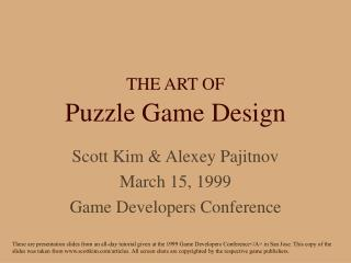 THE ART OF Puzzle Game Design