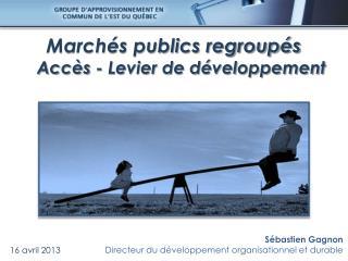 Marchés publics regroupés      Accès - Levier de développement