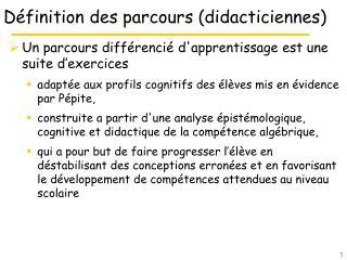 D�finition des parcours (didacticiennes)