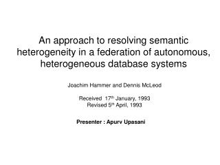 Joachim Hammer and Dennis McLeod Received  17 th  January, 1993 Revised 5 th  April, 1993