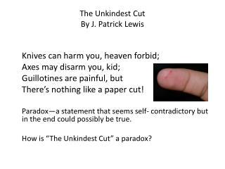 The  Unkindest Cut By J. Patrick Lewis