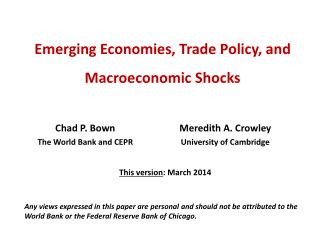 Emerging Economies, Trade Policy, and  Macroeconomic Shocks