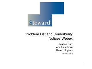 Problem List and Comorbidity Notices Webex Justine Carr John Unterborn Karen Hughes January 2013