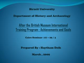 Birzeit  University  Department of History and Archaeology