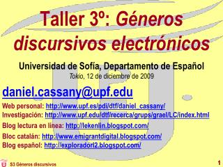 Taller 3º:  Géneros discursivos electrónicos