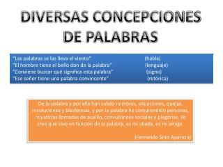 DIVERSAS CONCEPCIONES DE PALABRAS