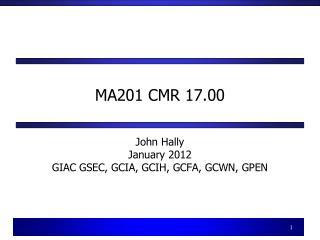 MA201 CMR 17.00