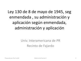 Univ .  Interamericana  de PR Recinto  de  Fajardo