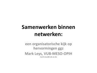 Samenwerken binnen netwerken: