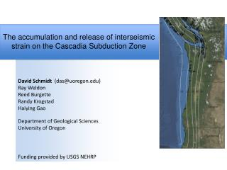The accumulation and release of interseismic strain on the Cascadia Subduction Zone