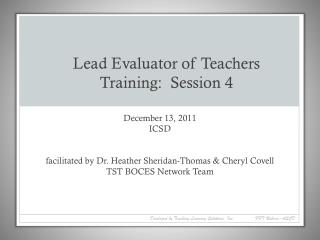 Lead Evaluator of Teachers Training:  Session 4