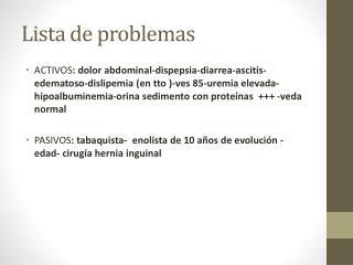 Lista de problemas