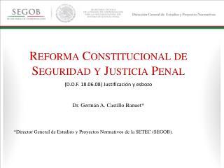 R EFORMA  C ONSTITUCIONAL DE  S EGURIDAD Y  J USTICIA  P ENAL