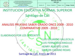 ANALISIS PRUEBAS SABER GRADO ONCE 2009 - 2010
